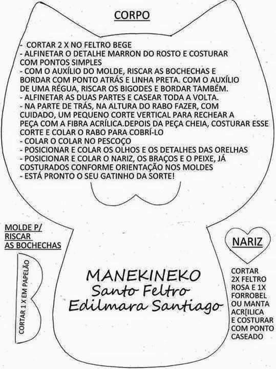 17 Modelos de Gato de Feltro [com Molde Grátis] | Patrones | Feltro ...