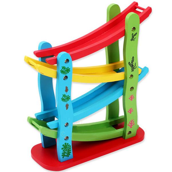 Baby Children Wooden Roller Coasters Slide Four Layer