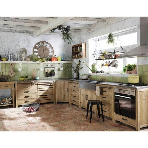 Kitchen Cabinet With Sink Recycled Wood L 90 Cm Kitchen Base Units Kitchen Design Rustic Kitchen