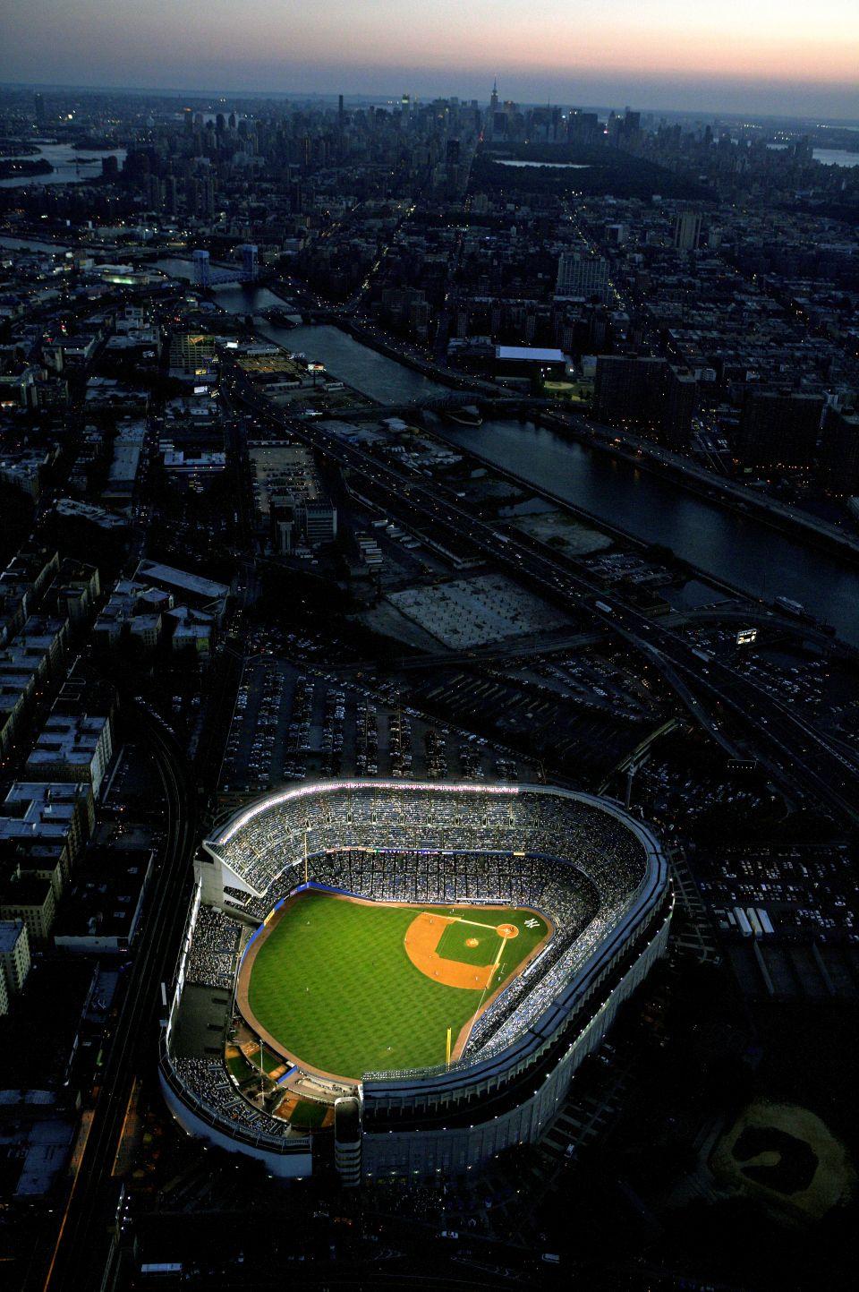 Yankee Stadium Aerial At Dusk Vertical Neil Leifer Yankee Stadium Stadium Baseball Stadium