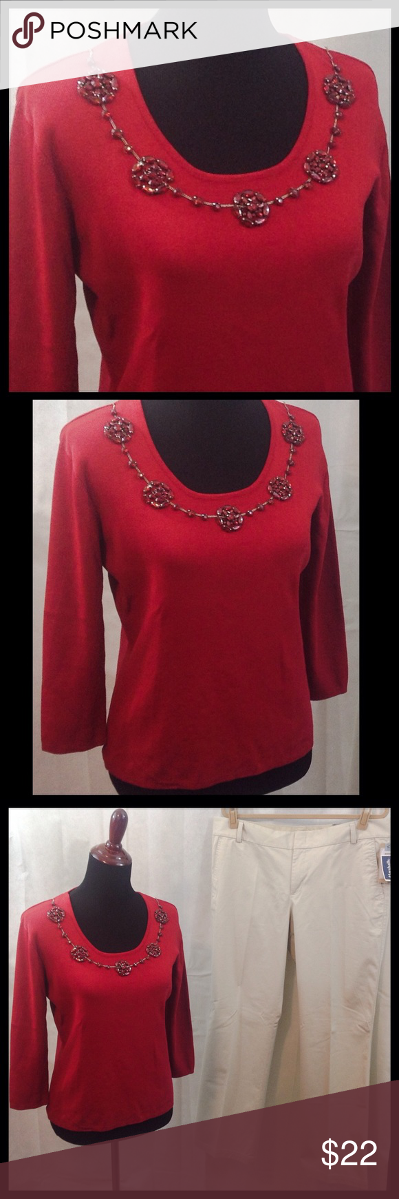 Joseph A. Rust Knit Top NWOT. Joseph A. rust colored, knit top with beautifully beaded front neckline. Hand wash cold. Dockers listed separately. joseph A. Tops