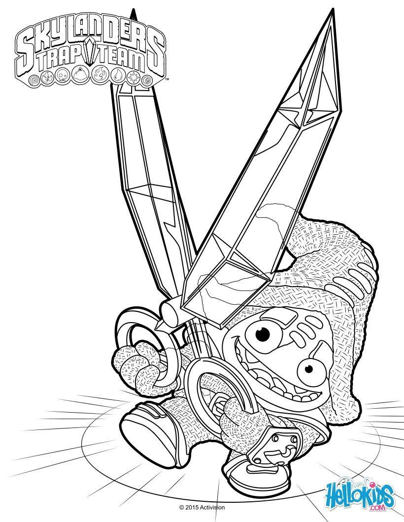 Voici un joli coloriage de Skylanders Trap team inédit Voici un dessin de Short Cut Plus de contenu Skylanders sur hellokids Pinterest
