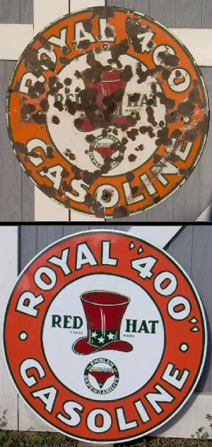 Red hat royal 400 porcelain sign  Vintage metal signs