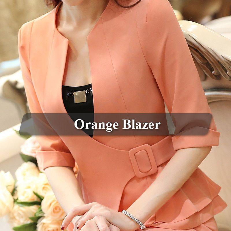 8de9c92b8 Fashion Work Wear Jacket Half Sleeve V-neck Coat Blazer Feminino ...