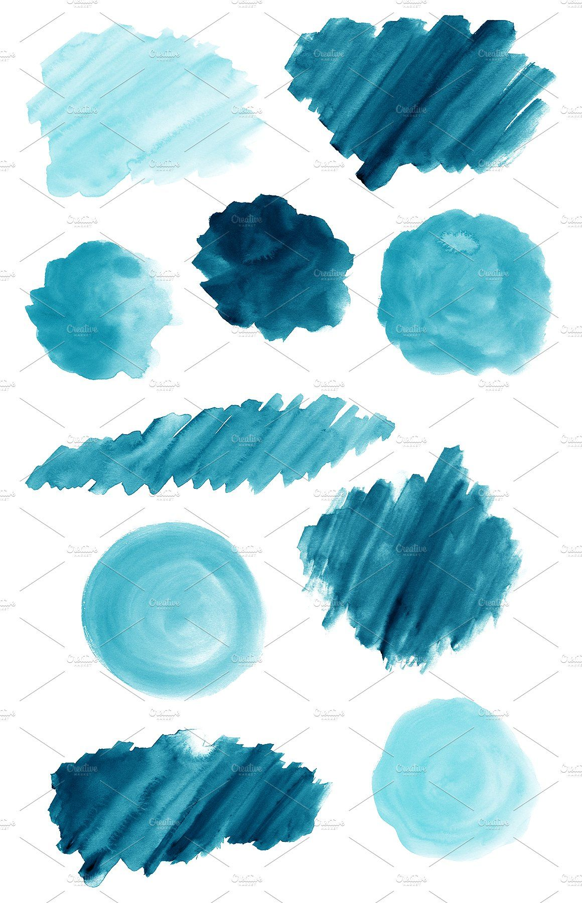 50 Blue Watercolor Shapes Watercolour Texture Background