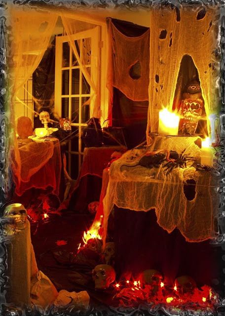 Scary Halloween Decorating Ideas Love The Lights Under The Tables Halloween House Decoration Halloween Outdoor Decorations Scary Halloween Decorations