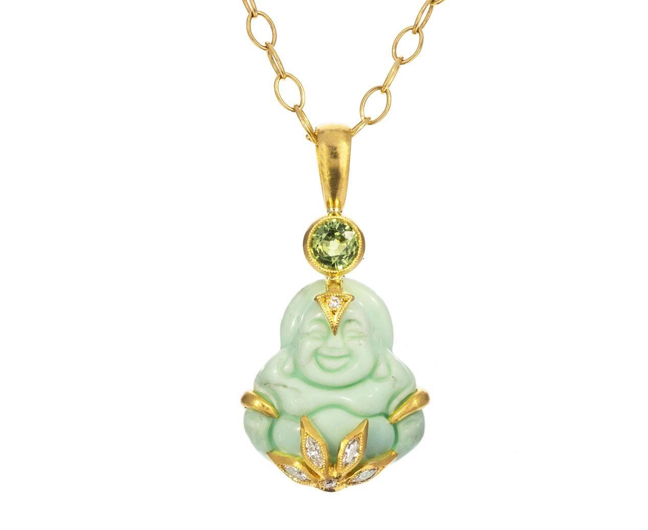 Green Opal Sapphire And Diamond Lotus Flower Buddha Pendant ONLY