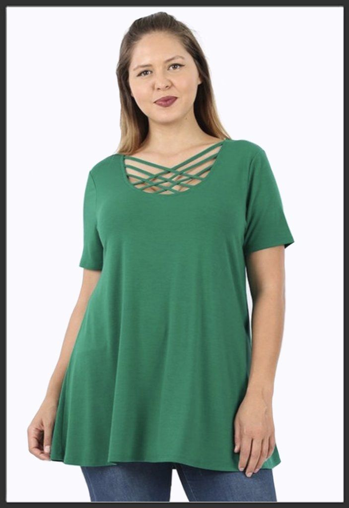 united kingdom where to buy cheap prices Criss Cross Tunic Top Short Sleeve - Emerald Green in 2019 ...