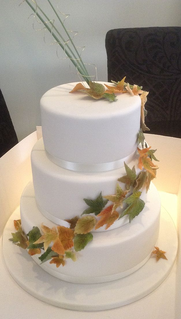 Three-tier Autumnal Leaves Cake.  Truly Scrumptious Designer Cakes.