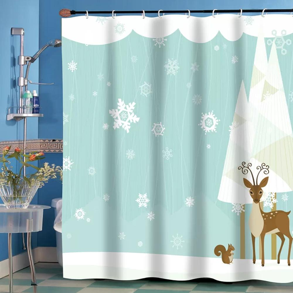 Forrest Friends Fabric Shower Curtain Christmas Shower Curtains