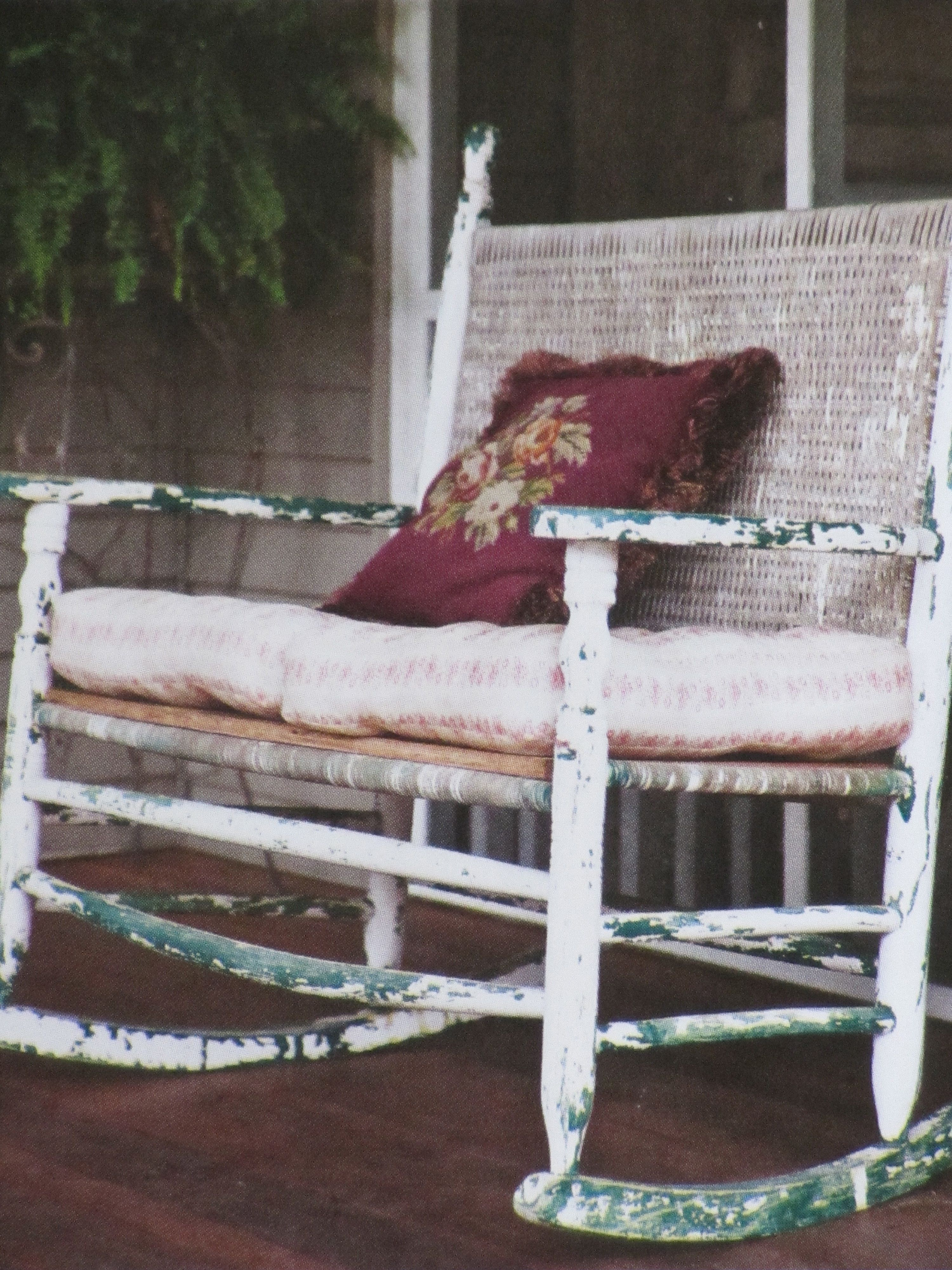 Rocking chairs on front porch with my Home Goods cushions