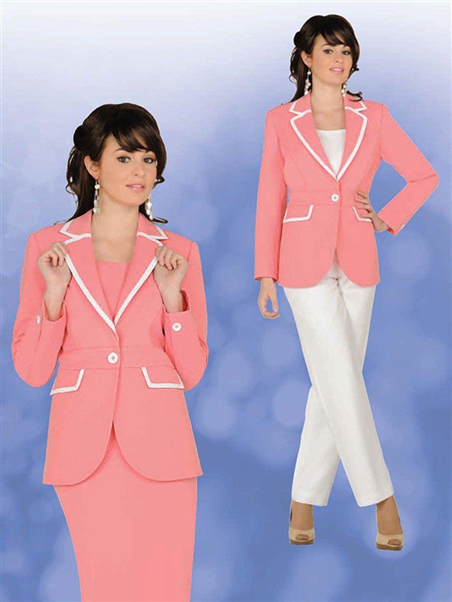 Ben Marc Executive 11100 Pink White Skirt Pant Career