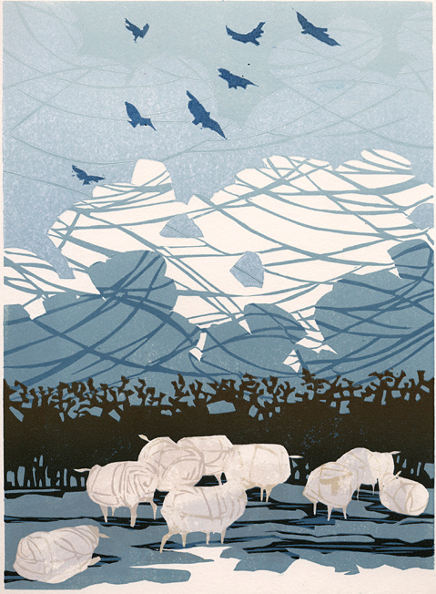 Sheep and sky. Linocut. 180 x 250 by Laura Boswell. http://www.lauraboswell.co.uk/ Tags: Linocut, Sheep, Animals, Sky, Birds, Blue, British, Helen Elstone