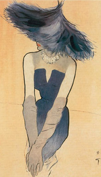 Fashion illustration by René Gruau, 1949, Ensemble by Christian Dior, Femina. Courtesy of the Museum of Costume, Bath.