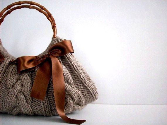 Knit Handbag NzLbags tote Handmade – Handbag – Shoulder Bag, Everyday Bag, Beige brown bow, fall autumn fashion, christmas gift idea