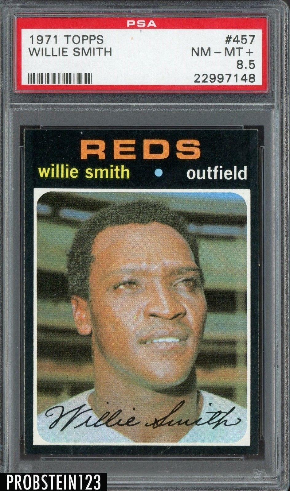 1971 topps 457 willie smith cincinnati reds psa 85 nm