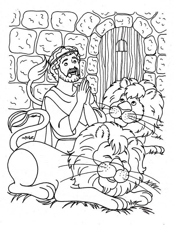 Daniel Praying Three Times A Day In And The Lions Den Coloring Page