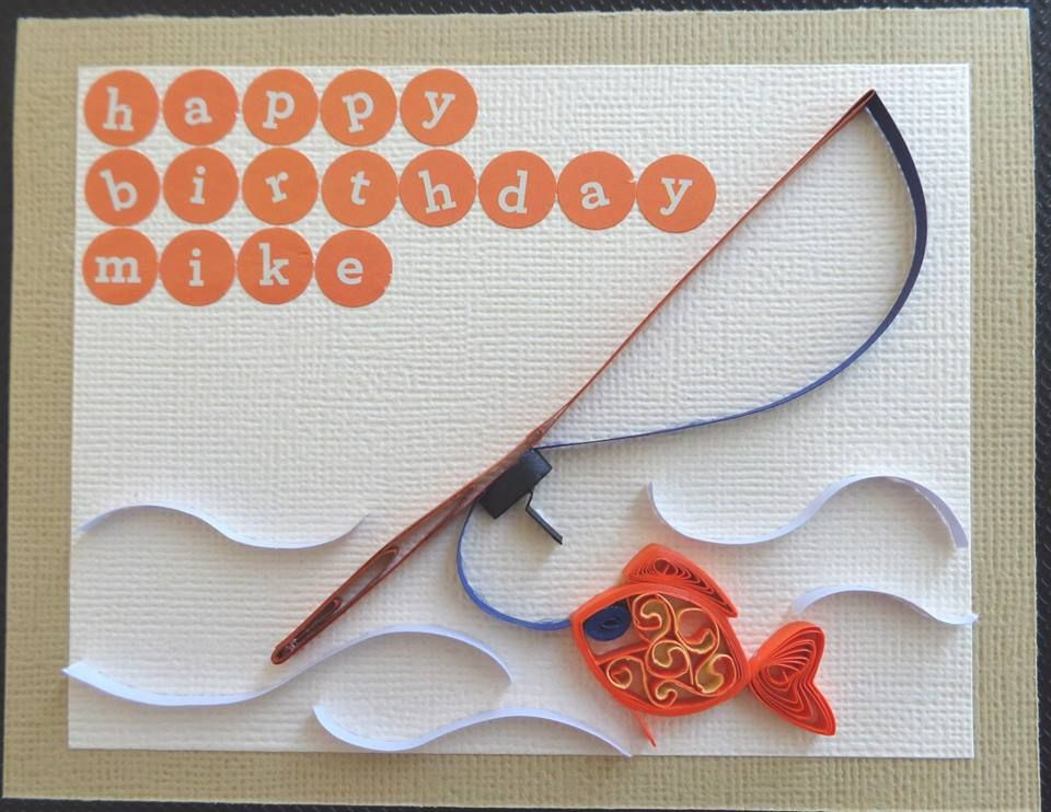 Quilled men   boy fishrod and fish birthday card by karen miniaci quilling supplies from creations also rh pinterest