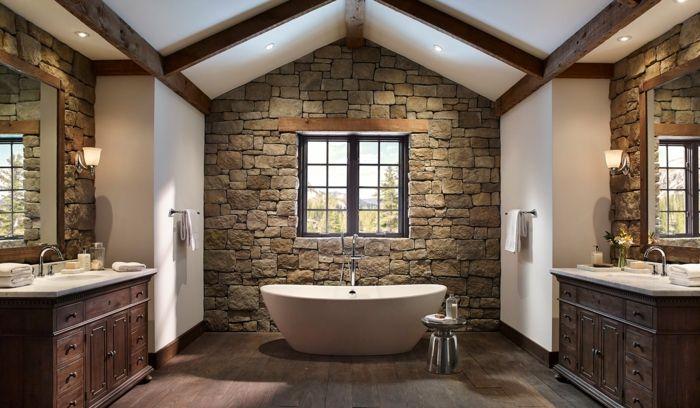 ladrillo caravista, decoración rustica baño, dos lavabos gemelos - lavabos rusticos