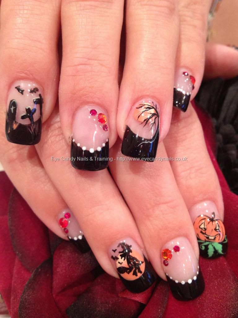 Black Halloween freehand nail art with witch, pumpkin ...