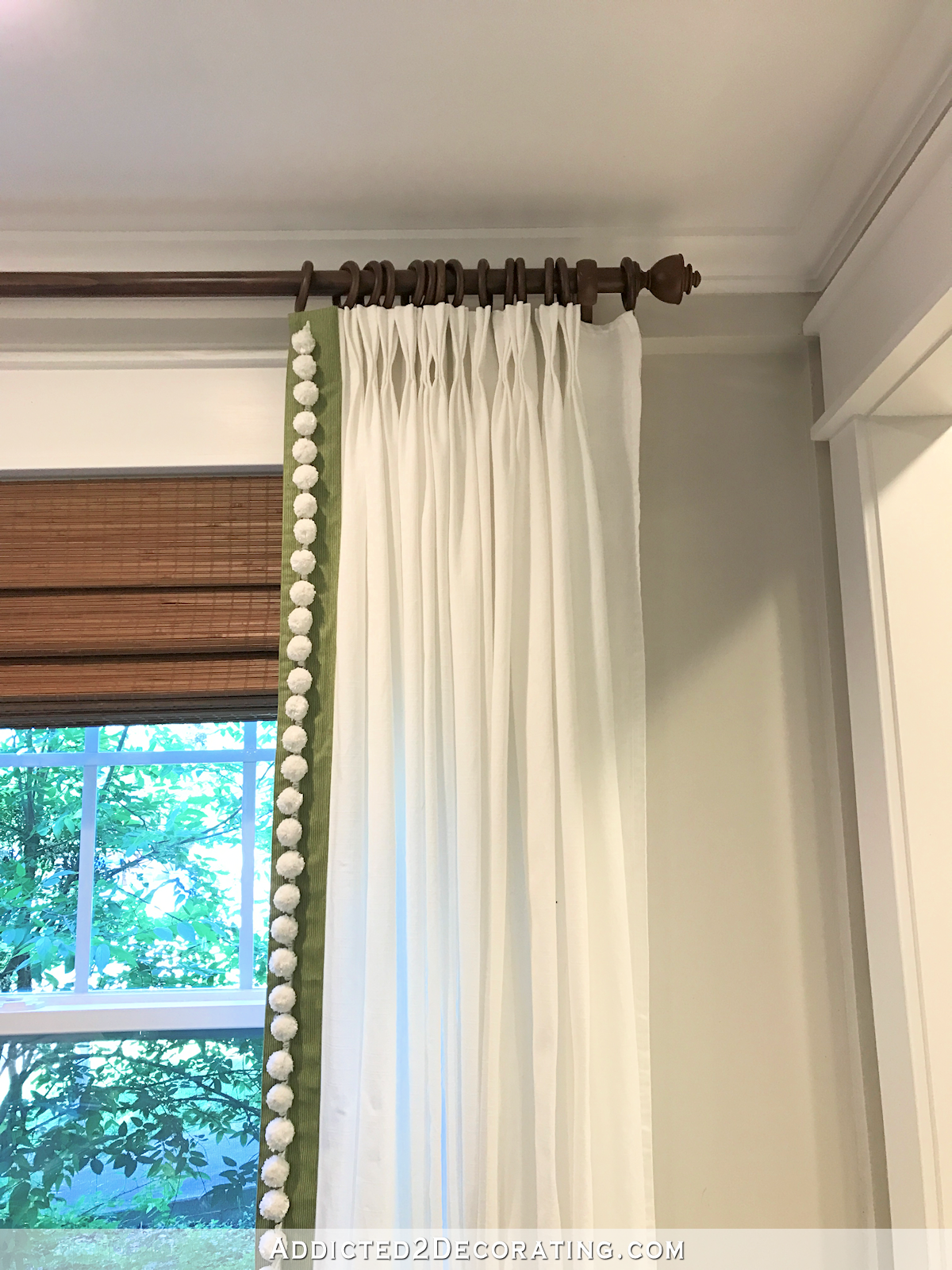 Customize IKEA Ritva Curtains With Contras Edge Banding Pom Trim And Pinch Pleats