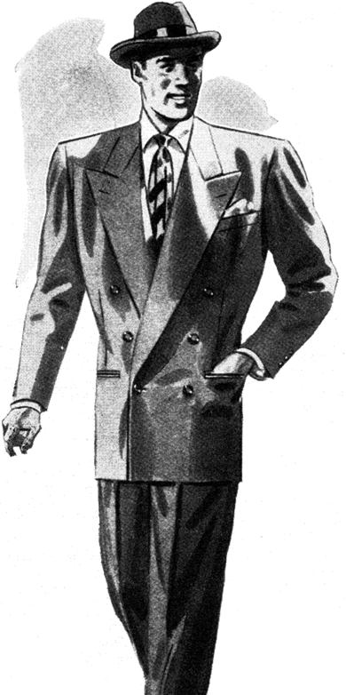 1948 Suit Fashion Bold Look Broad Shoulder Wide Lapel With
