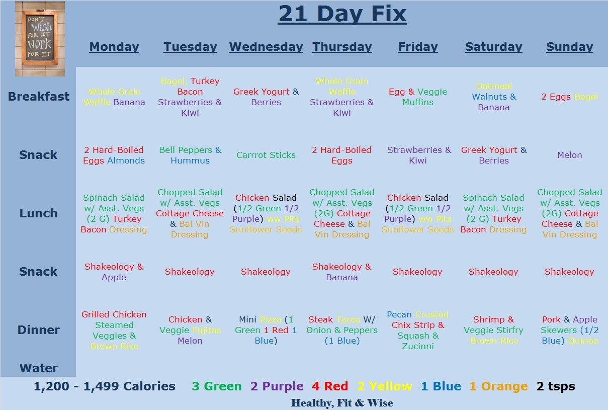beachbody 21 day fix sample 1200 1499 calorie meal planner with containers recipes wwwfacebookcomhealthyfitandwise