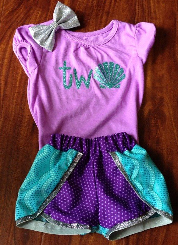 8f219dd1a2a79 Girl 2nd Second Birthday Shirt//Purple Aqua Mermaid Birthday Outfit//Two  year old girl birthday//2nd bday outfit girl//Under the sea girl by ...