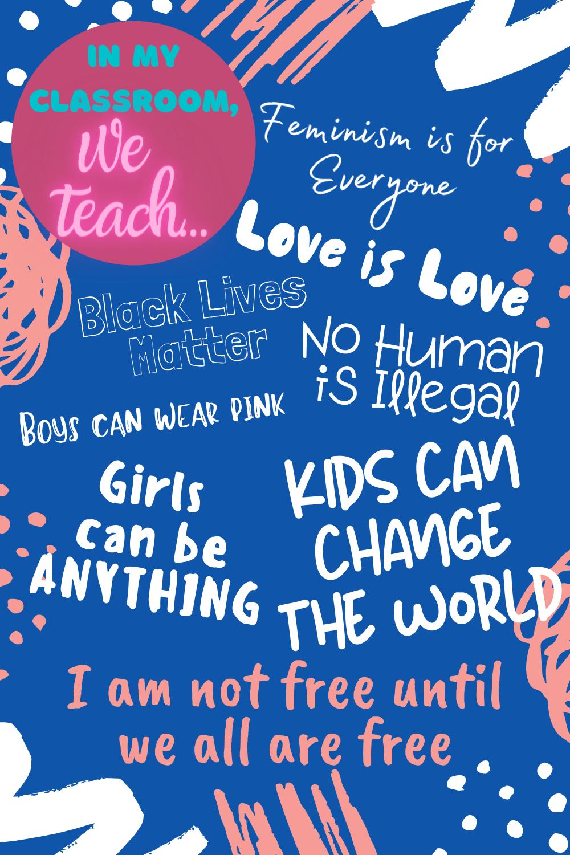 Free Printable Social Justice Classroom Poster Teaching Preschool Classroom Posters Homeschool Elementary