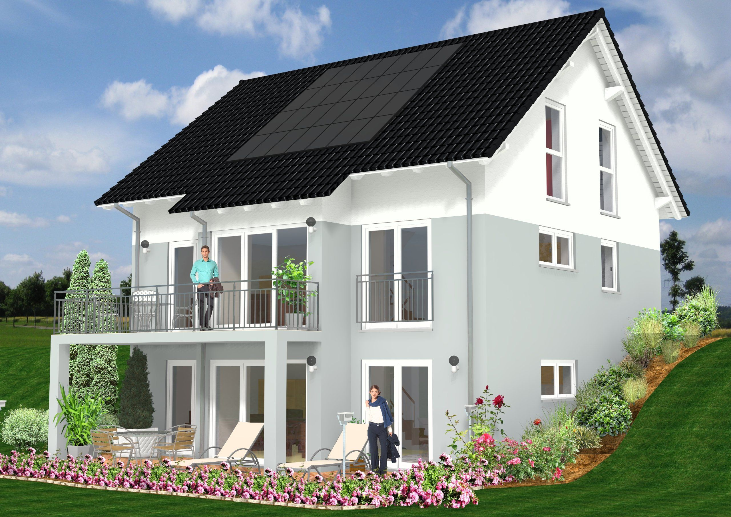 bungalow am hang mit wohnkeller wohn design. Black Bedroom Furniture Sets. Home Design Ideas