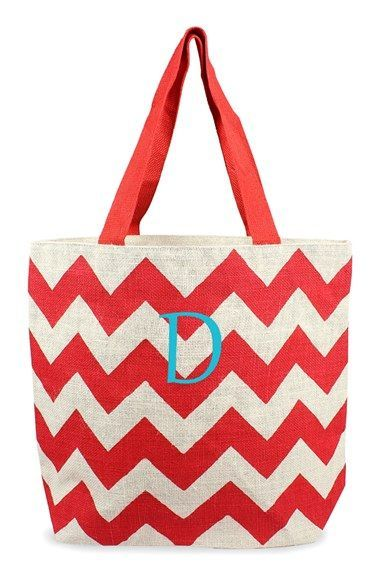 Women's Cathy's Concepts Personalized Chevron Print Jute Tote - Red