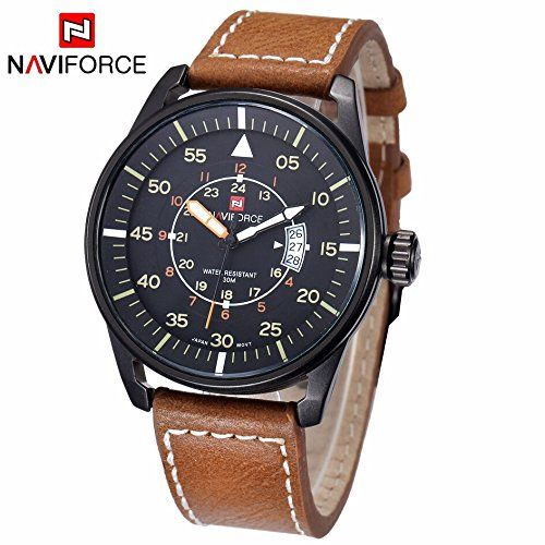 e91d60ce8a New Mens Luxury Brand Military Wristwatch Leather Strap Date Dress Business  Casual Quartz Wrist Watches Relogio Masculino Male Brown    More info could  be ...