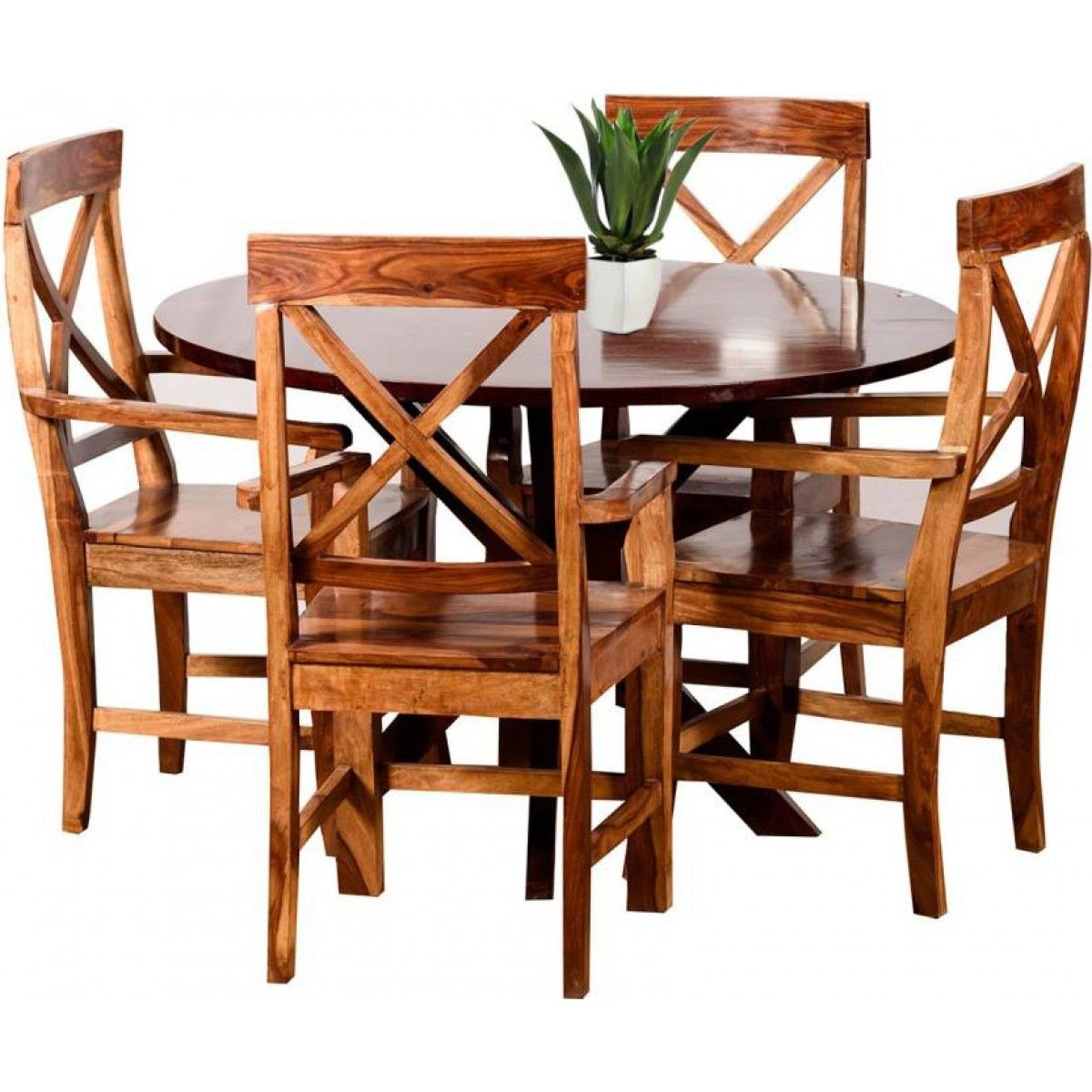 4a11b3dc557 Rock Solid Wooden Dining Table Set I Gorevizon W X H X D  1340 Mm X 970 Mm  X 1340 Mm Number Of Benches 1 Dining Table Number Of Chairs  4 Table Shape   Round