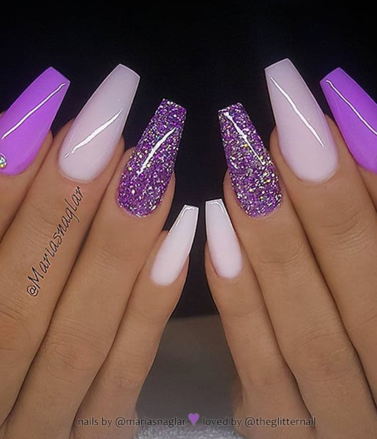 54 Stunning Acrylic Gel Coffin Nails Design For Summer Nails To Look Elegant Page 46 Of 54 Latest Fashion Trends For Woman Purple Acrylic Nails Purple Nails Coffin Nails Designs