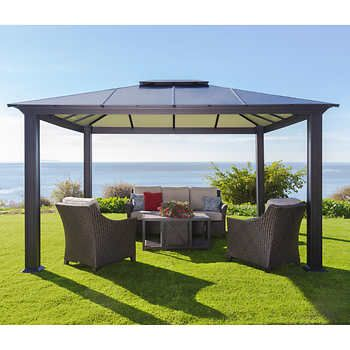 12 X 14 Cedar Gazebo With Aluminum Roof In 2020 Aluminum Gazebo Outdoor Pergola Backyard Gazebo