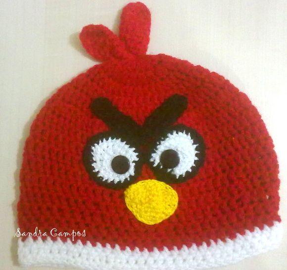 Gorro ou touca em crochê Angry birds Tamanhos a combinar!!! Feita em lã ou linha verão R$ 44,00