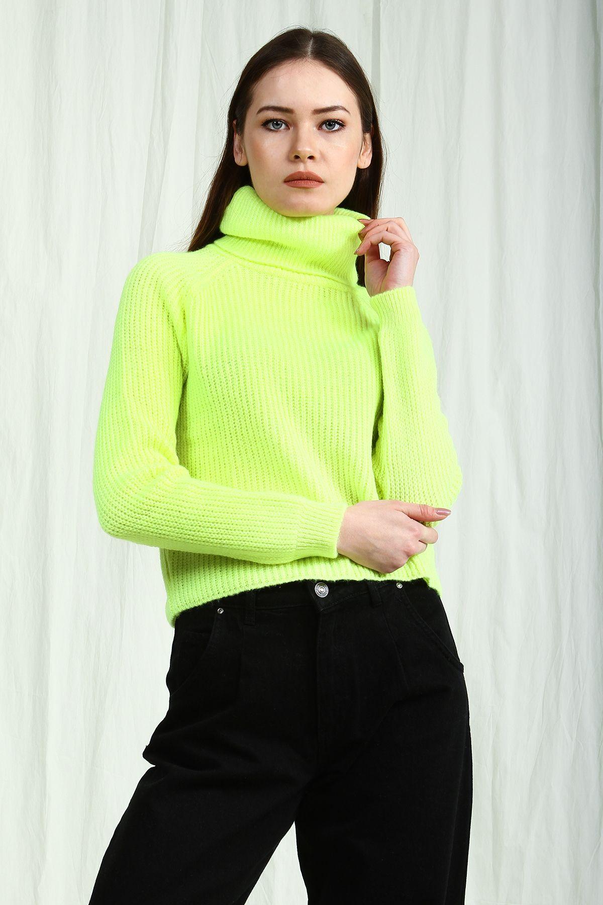 Kadin Neon Yesil Bogazli Selanik Triko Kazak Collezione Kazak Modelleri Bayan Kazak Kombinleri Triko Kazak Triko Kazak Modell 2020 Triko Moda Stilleri Kadin
