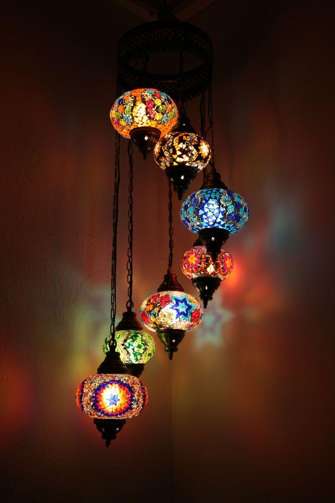 Bunt Türkisch Mosaik Wandbehang Lampen Licht Hand Handwerk 4 Große 3 Medium