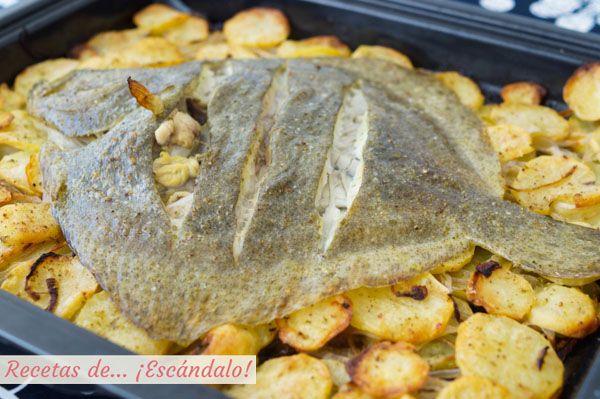 Como Cocinar El Rodaballo Al Horno   Rodaballo Al Horno Con Patatas Panaderas Pescados Y Mariscos
