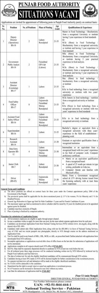 Get Punjab Foods Authority Lahore Jobs  For Those Having