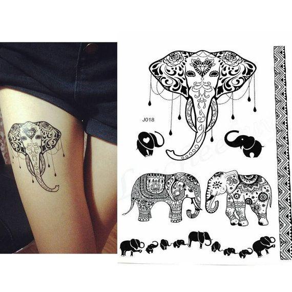 Elephant tattoo Henna inspired Easy to Apply by Tempotats   Tattoos ...