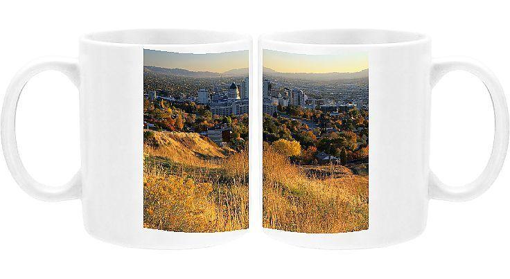 Photo Mug-SALT LAKE CITY, UTAH. USA. Downtown Salt Lake City & Salt Lake Valley in autumn-Ceramic dishwasher safe mug made in the UK
