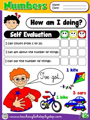Numbers  Self Evaluation  Funtastic English   St Graders