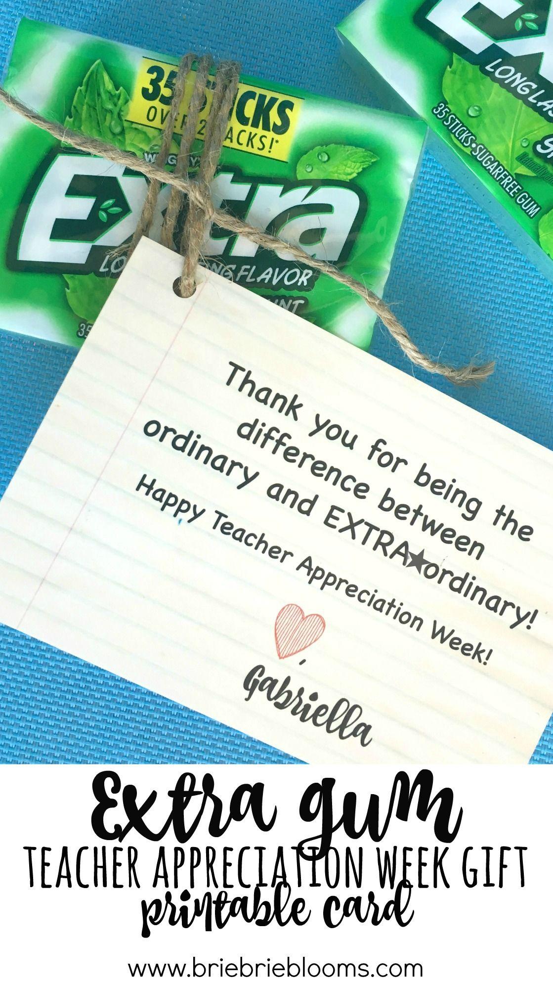 photo relating to Extra Gum Teacher Appreciation Printable named Excess Gum Trainer Appreciation 7 days Reward Printable Card