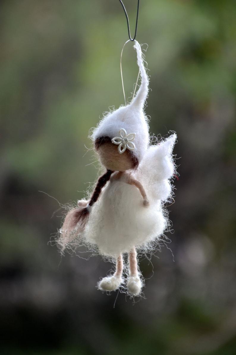 Weihnachtsschmuck Weihnachtsbaum, Nadel gefilzt Waldorf inspiriert Puppe, romantisches Geschenk #needlefelting