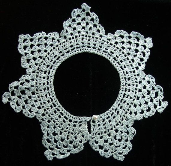 Civil War Era Sky Blue Crocheted Lace Collar From Vintage Pattern
