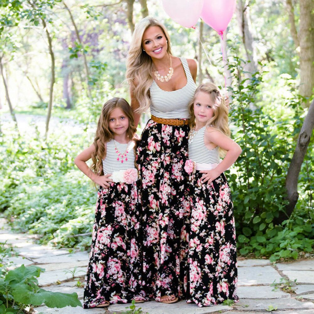 Mommy And Me Family Matching Dress Mother Daughter Floral Sundress Kids Women
