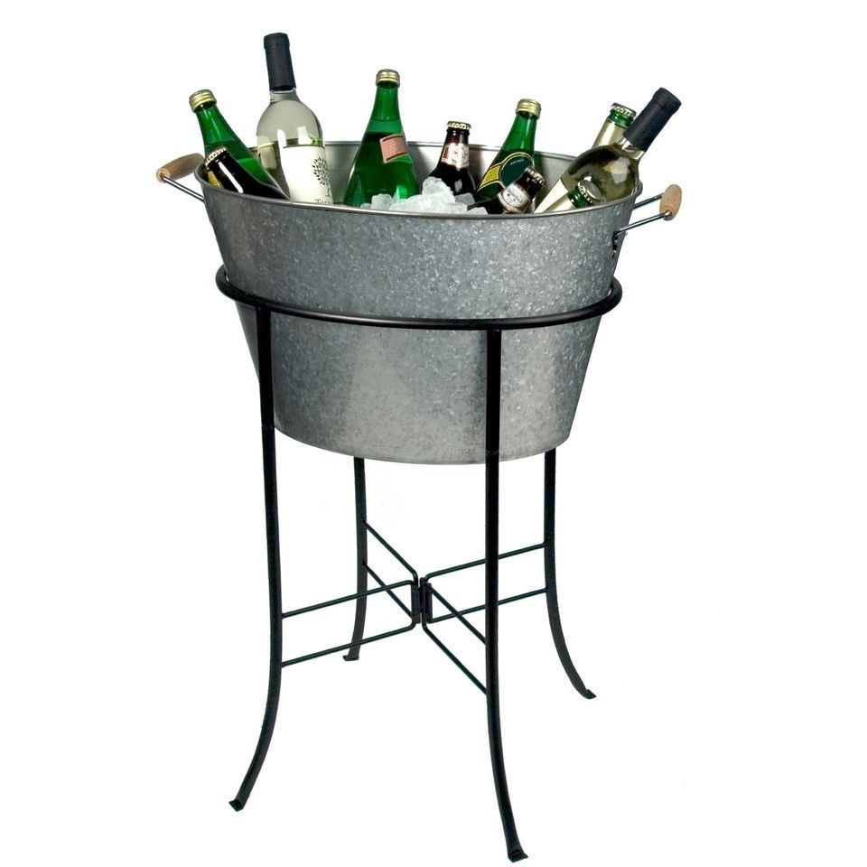 Galvanized Tub Stand Ice Bucket Beverage Cooler Party Wine Beer Steel Bar Drink Party Tub Beverage Tub Galvanized Tub