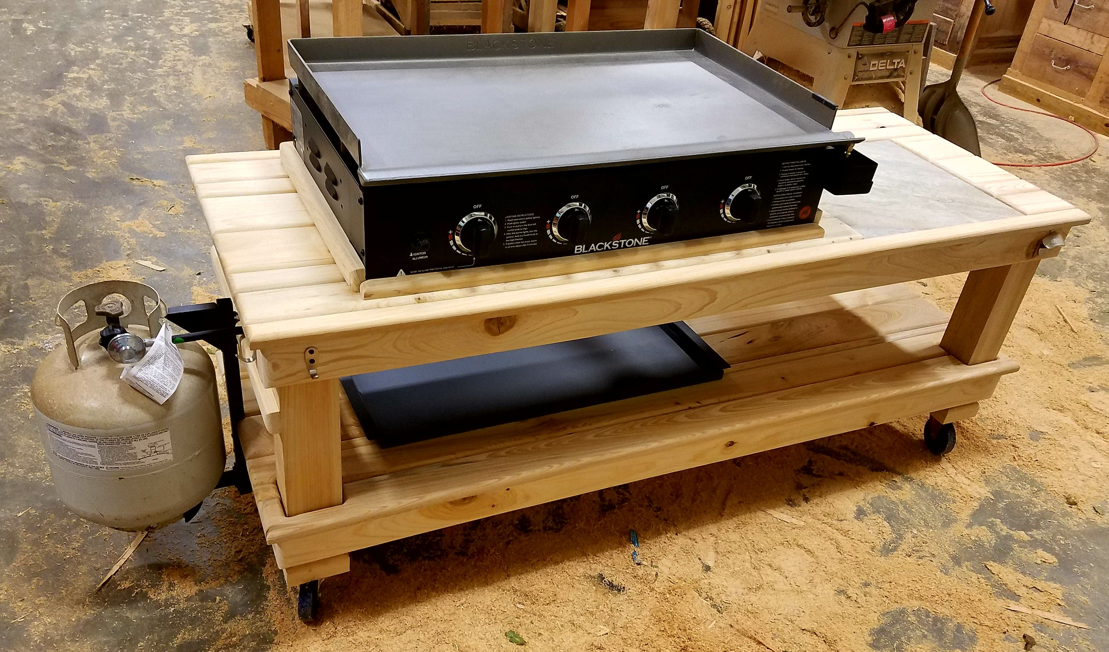 Griddle Table Wood By Dana Grill Table Iron Handles Outdoor Bbq Kitchen