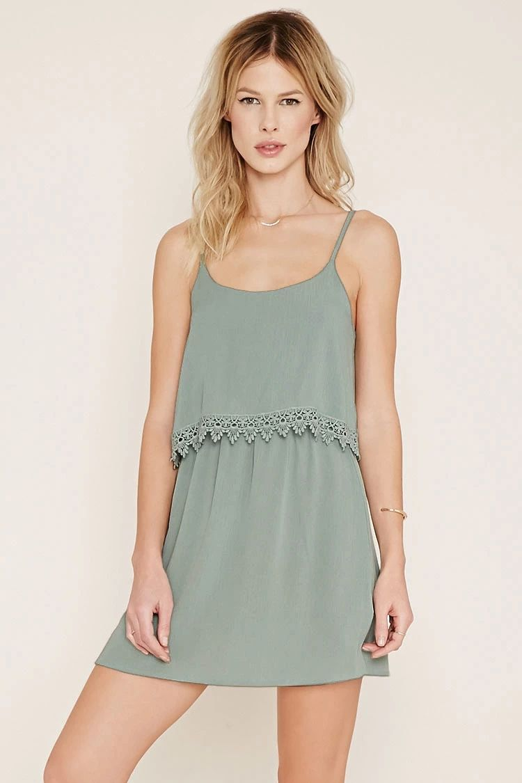 Crochet-Trimmed Cami Dress #thelatest